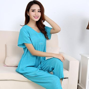 Womens cotton Pajamas Sets Spring Summer Female Lace Embroidered Satin Pyjamas Sleepwear Loungewear XL-3XL 50076