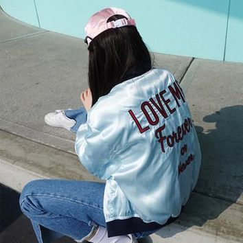 """""""Love Me Forever or Never"""" Alphabet Embroidery Jacket [9138743175]"""