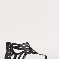 Breckelle Rachel-13 Cut Out Ankle Cuff Thong Flat Sandal