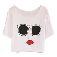 ROMWE Glasses & Lip Print Midriff White T-shirt