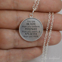 you are braver than you believe --- engraved bezel pendant necklace
