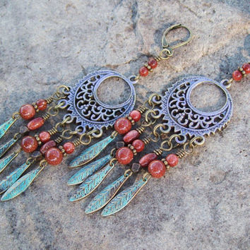 Bohemian Hippie Long Patina Earrings - Lilac Purple Earrings - Metal Dangle - Feather Charm Earrings - Tribal Hippie Summer Earrings