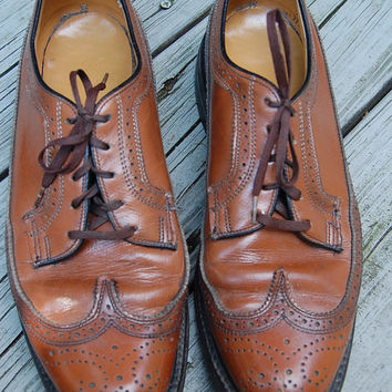 Vintage O Sullivans Brown Leather Wingtips Longwings Brogues Oxfords Shoes Size 9 C