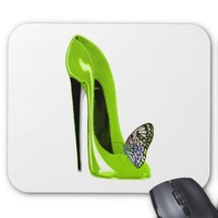 Lime green stiletto shoe and butterfly mouse mat