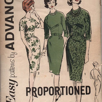 1960s Advance Sewing Pattern Proportioned Sheath Dress Straight Skirt Fitted Wiggle Dress Mad Men Style Bust 34