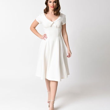 Unique Vintage Plus Size 1940s Ivory Knit Natalie Swing Dress