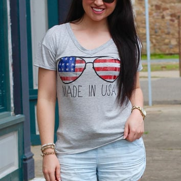 Made in USA Scoop Top {Grey}