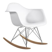 Fine Mod Imports Home Indoor Patio Rocker Arm Chair White