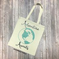 Adventure Awaits // Glitter Tote Bag