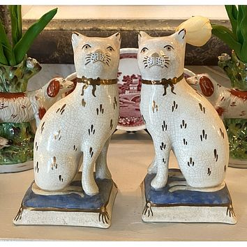 Antique Pair Kent Staffordshire Cat Figurines on Light Blue Bases
