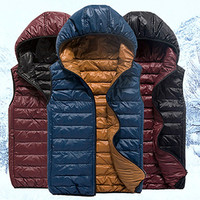 Reversible Men Zip Up Puffer Vest Jacket with Hood