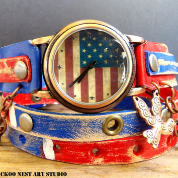 US Flag Leather Wrap Watch, Womens leather watch, Bracelet Watch, Wrist Watch with chain