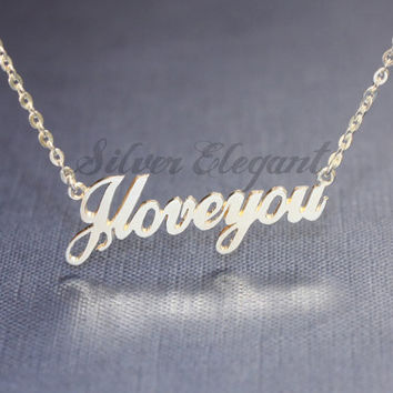 Custom Name Necklace - Handwriting Font - Gift For Best Friend - Sterling Silver