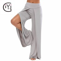 GIYI High Waist Split Wide Leg Flowy Dance Flare Pants Women Beach Loose White Long Palazzo Harem Capri Pants Summer Trousers