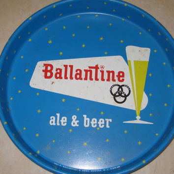Original Authentic Vintage Ballantine Beer Serving Tray Ale Pretzel Blue Turquoise Home Decor Bar Decoration