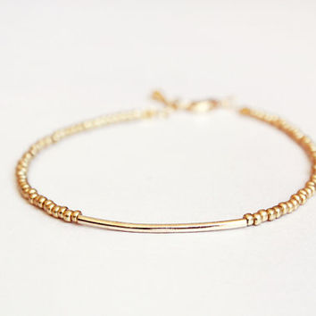 gold bar bracelet - minimalist dainty jewelry - friendship bracelet / gift for her