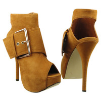 Womens Ankle Boots Suede Gold Buckle Peep Toe High Heel Shoes Brown SZ 7