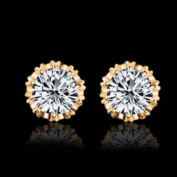 2016 Fashion Round Shape 2 Carat Cubic Zircon CZ  Crown Stud Earrings For Women