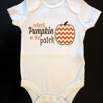 Cutest Pumpkin in the Patch Halloween Fall Onesuit or Toddler / Kid's T-Shirt
