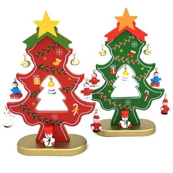Hoomall Wooden Christmas Tree Decorations With Pendants Table Desk Santa Claus Snowman Christmas Ornaments Navidad New Year Gift