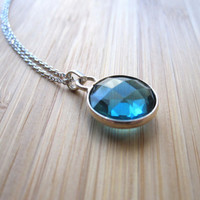 NEW: London Blue Hydro Pendant Necklace, Blue Pendant Neckalce, Modern Necklace, Silver Necklace,Birthday gift necklace,Valentine's Day gift