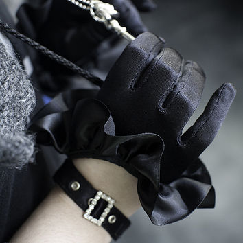Sock Dreams - Cropped Satin Ruffle Gloves with Buckle