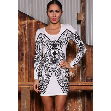 Long Sleeve Round-neck White Sexy Backless High Waist Vintage New Arrival One Piece Dress = 4804211844