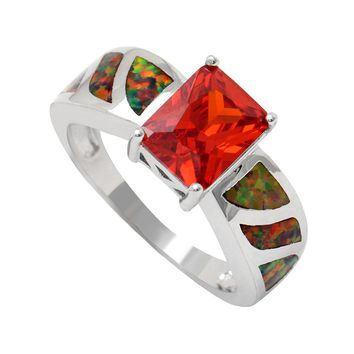 2017 red Square cz promise Rings new silver plated jewelry size 5-12 women Engagement Ring jewelry BLUE opal rings drop shipping