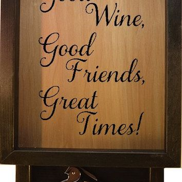 "Wooden Shadow Box Wine Cork Holder with Corkscrew 9""x15"" - Good Wine Good Friends Great Times"