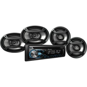"Pioneer DXT-X4869BT Bluetooth CD Car Stereo Receiver Bundle with Two 6.5"" Speakers and Two 6"" x 9"" Speakers, w/ Remote - Walmart.com"