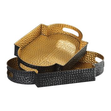 Gatha Aged Bronze & Antiqued Gold Decorative Trays -Set of 2 by Uttermost
