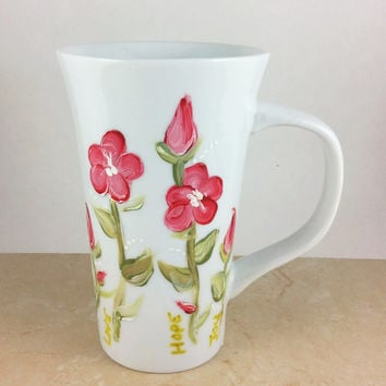 coffee mug, Latte Mug, Hand Painted Mug, Specialty mugs, Specialized coffee mug, Porcelain Mug, Flower Coffee mugs, Mugs, Gifts under 25