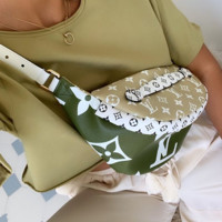 Louis Vuitton LV Fashion Leather Waist Bag Satchel Single Shoulder Bag green