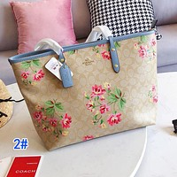 COACH Popular Women Leather Flower Print Shopping Tote Handbag Shoulder Bag 2#