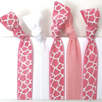 Giraffe Printed Hair Tie - Knotted Cloth No Dent Hair Tie - Emi Jay Like Pink Yoga Hair Band - Soft Stretchy Hair Tie Accessories