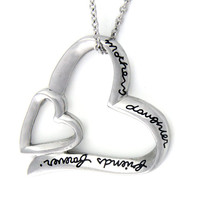 "Mother Daughter Gift - Two Hearts Mom and Daughter Necklace Engraved with ""Mother Daughter Forever Friends"", 18"" Chains Included"