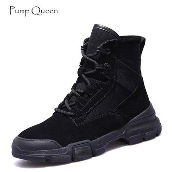 Pump Queen 2018 New English Wind Ankle Boots Shoes Woman Suede Winter Mid Heels Lace-up Women Shoes Martin Boot Size 40 Mujer