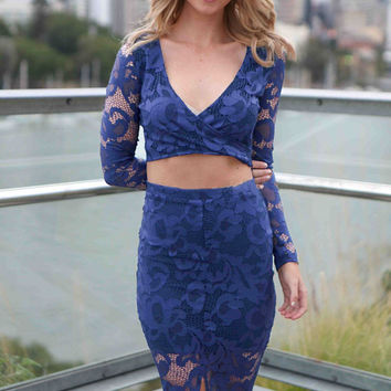 Floral Lace Deep V Neck Ful Sleeve Two Piece Skirt Set Blue