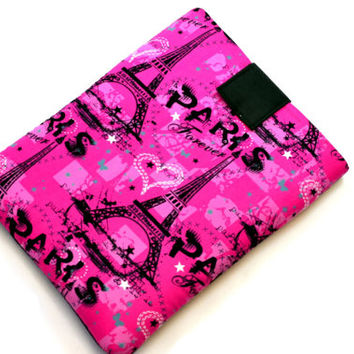 Hand Crafted Tablet Case from Pink Paris Eiffel Tower Fabric/Case for:iPad, Kindle Fire HDX,Samsung Galaxy Tab, Google Nexus, iPad Air, Nook
