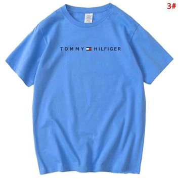 Tommy Fashion New Bust Letter Print Women Men Sports Leisure T-Shirt Top 3#
