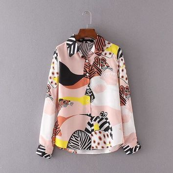 ESBONHS Kawaii Ladies Shirts Cartoon Animal Print Chiffon Blouse Women Tops Multicolor Turn-Down Collar Long Sleeve Shirt Women Blouses