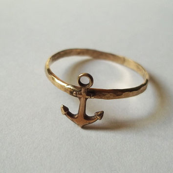 Gold Anchor Ring, Hammered Gold Fill Ring, Nautical Jewelry, Handforged, Unisex Ring