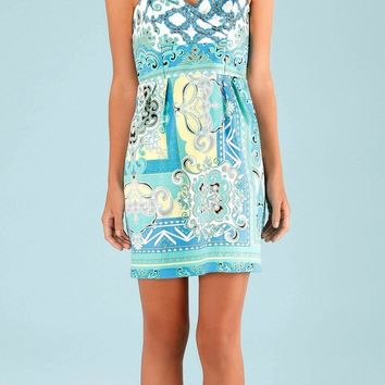 Teal Blue Printed Cotton Sateen Sundress