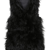 LE3NO Womens Winter Shaggy Faux Fur Vest Jacket (CLEARANCE)