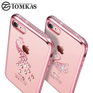 Rhinestone Case For iPhone 7 / 7 Plus Silicone Glitter Diamond Cute Cover for i Phone 7Plus Coque Fundas Luxury 4.7 / 5.5 Inch
