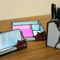 Hummingbird Office Desk Set, 3 Piece, Card Holder, Note Tray & Pen/Pencil Holder, Handmade Stained Glass, Great Gift!