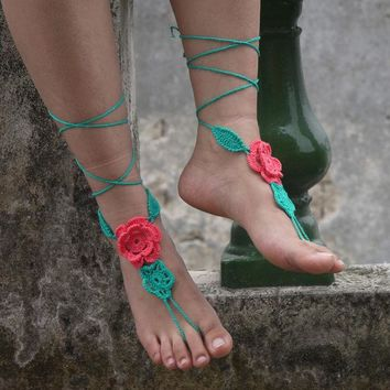 DCCKJG2 applique Paisley flower Crochet Barefoot sandals Nude shoes, Foot hippie jewelry, Victorian Lace, Sexy Anklet, Boho accessorie
