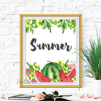 Summer print Watermelon print Large Summer poster printable Watercolor watermelon poster Summer party sign Watermelon party sign Download