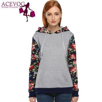 ACEVOG Sweatshirt Women Hot Selling Floral Printed Casual Hooded Pullover Hoodies Autumn Winter Flannel Tracksuit Coat Plus Size