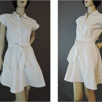 40s White Cotton Moore Gym Tennis Dress with Shorts, 34 bust, Vintage 1940s Athletic, Women's Sports